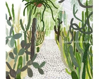 A4 Botanical Cacti Conservatory giclee print illustration