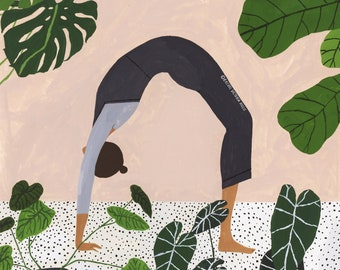 A4 Yoga Backbend Illustration Giclee Print Houseplants Monstera
