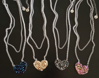 Large Candy Heart Druzy Double Chain Necklace