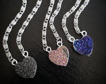 Candy Heart Druzy Choker Necklace