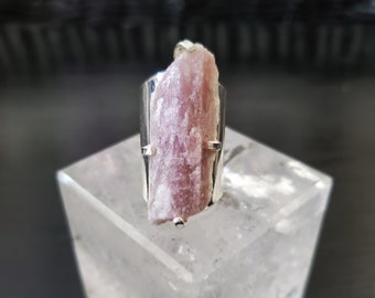 Pink Tourmaline Silver Plated Cuff Ring * US/5-10