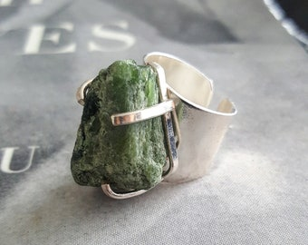 Diopside Silver Plated Cuff Ring * US/5-10