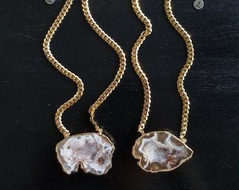 Split Geode *Gold Necklace*