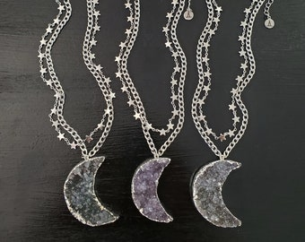 Crescent Druzy Moon & Stars Layering Necklace