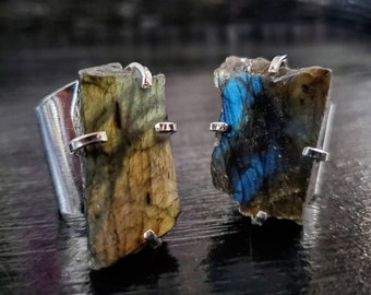 Labradorite Silver Plated Cuff Ring * US/5-10