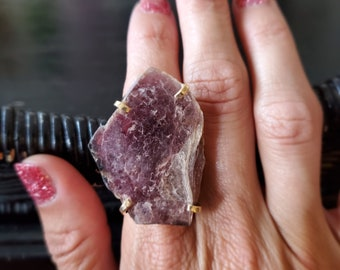 Lepidolite Gold Plated Arc Ring * US/6-10