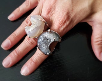 Agate Moon Silver Plated Arc Ring * US/5-10