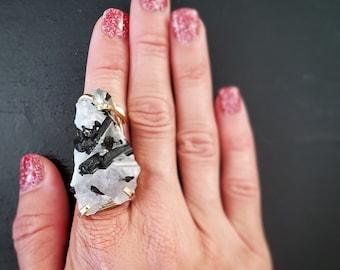 Tourmalated Quartz Gold Plated Arc Ring * US/7-10