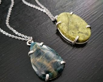 Blue Apatite or Lemon Jasper * Prong Pendant Necklace