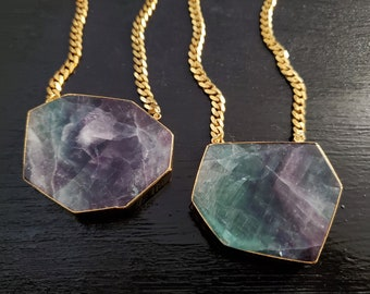 Fluorite Slab  *Gold Necklace*