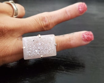 Pearl Coated Druzy Silver Plated Arc Ring * US/5-10