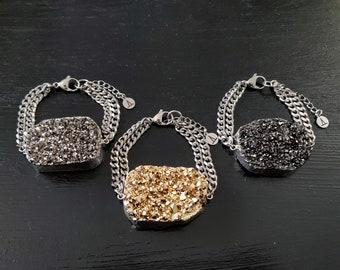 Titanium Druzy Double Chain Bracelet