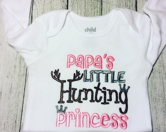 d7c53d826d2e Papa s little Hunting Princess! Embroidered Shirt Bodysuit Burp Cloth Hand  Towel and more!