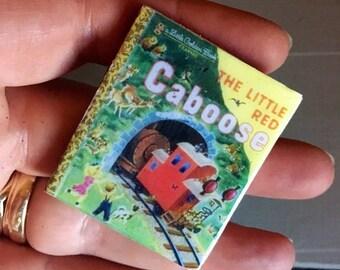 Mini books, Red Caboose Golden Book, book brooch