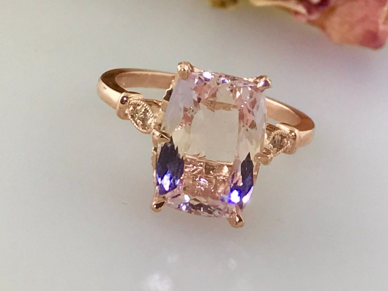 58a9eeed12927 4ct Morganite Cushion Cut Engagement Ring Morganite and Diamond Antique  Vintage style Ring 14k Rose Gold Pink Peach Color .