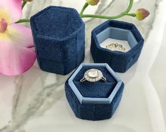 Velvet Ring Box Hexagon Hand Made Keepsake Velvet Ring Box Engagement Ring Wedding Ring Navy Blue