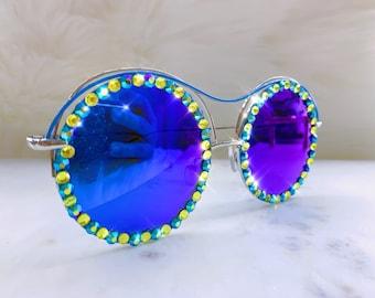 1037560dc1f9 Yoko Oversized Sunnies Festival Party Emerald Green Mermaid Crystal  Diamante Jeweled Embellished Bling Trendy Retro Sunglasses eyeglasses
