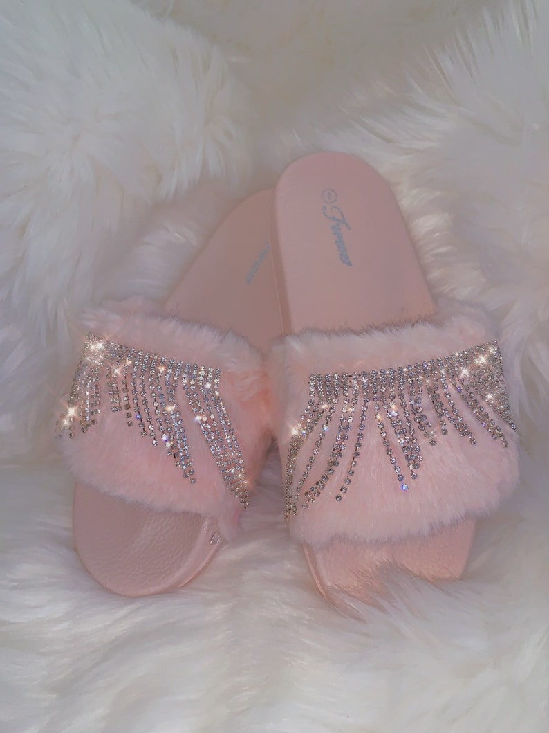 3e89200ae1aef Ice Cream Pink Faux Fur Slides Crystal Diamond Princess Fringe Bride  Slippers Bridal Shower Bachelorette Party Favors Fuzzy Bunnies