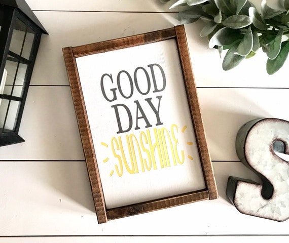 Good Day Sunshine | Good Day Sunshine Framed Word Sign | Beatles Inspired Sign | Rustic Framed Word Sign