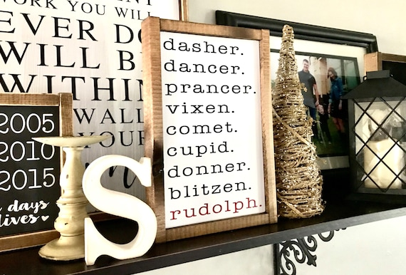 Rudolph The Red-Nosed Reindeer Sign | Rudolph Sign | Christmas Reindeer Sign | Dasher Dancer Prancer Vixen Comet Cupid Donner Blitzen