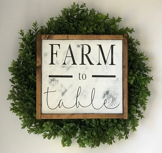 Farm To Table Sign | Farm To Table | Rustic Kitchen Sign | Farmhouse Kitchen Sign | Farmhouse Decor | Distressed Wood Sign | Fixer Upper