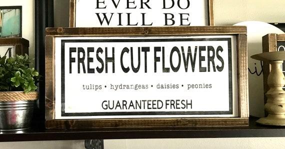Fresh Cut Flowers | Fresh Cut Flowers Sign | Farmhouse Sign | Framed Flower Sign | Floral Sign | Fresh Flower Sign | Spring Decor