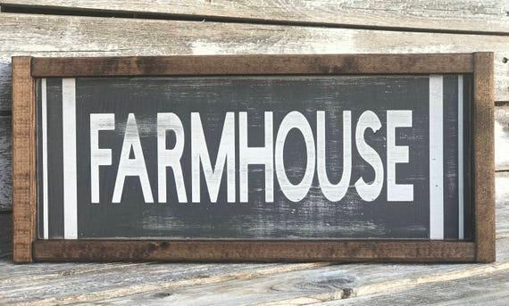 Farmhouse Sign | Framed Farmhouse Sign | Farmhouse Decor | Distressed Farmhouse Sign | Fixer Upper