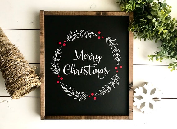 Farmhouse Sign | Christmas Sign | Merry Christmas | Merry Christmas Sign | Christmas Wreath Sign | Holly Christmas Sign | Christmas Berries