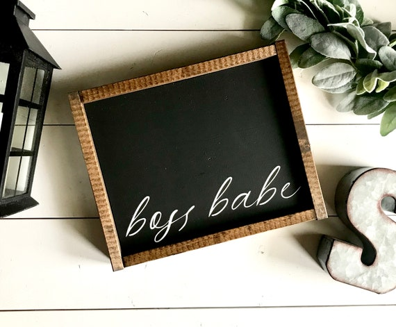 Farmhouse Sign | Boss Babe | Office Decor | Home Office Sign | Women's Office Sign | Girl Boss | Modern Farmhouse | Fixer Upper | Boss Lady