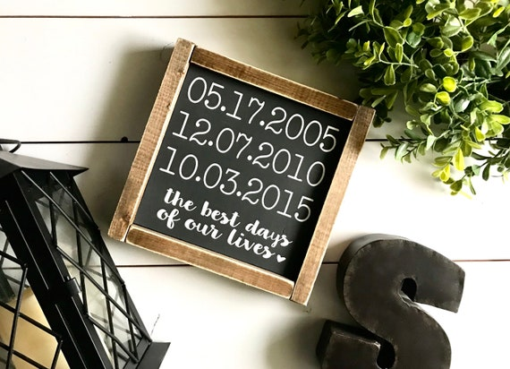 Family Date Sign | Personalized Family Sign | Custom Date Sign | Important Date Sign | Family Timeline | The Best Days Of Our Lives