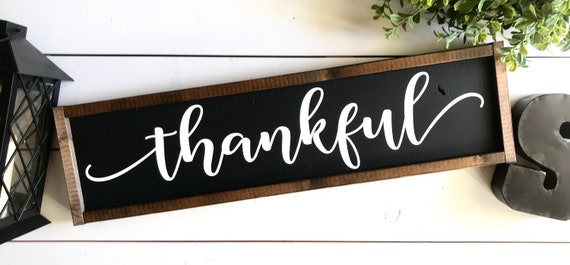 Farmhouse Sign | Thankful | Thankful Sign | Thanksgiving Sign | Fall Sign | Autumn Sign | Fixer Upper | Modern Farmhouse