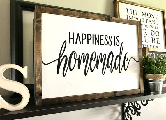 Farmhouse Sign | Happiness Is Homemade | Farmhouse Kitchen Sign | Fixer Upper | Modern Farmhouse | Happiness Is Homemade Sign