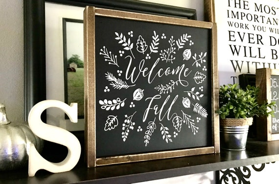 Farmhouse Sign | Welcome Fall | Fall Sign | Fall Decor | Autumn Sign | Leaf Sign | Fixer Upper | Modern Farmhouse | Fall Home Decor