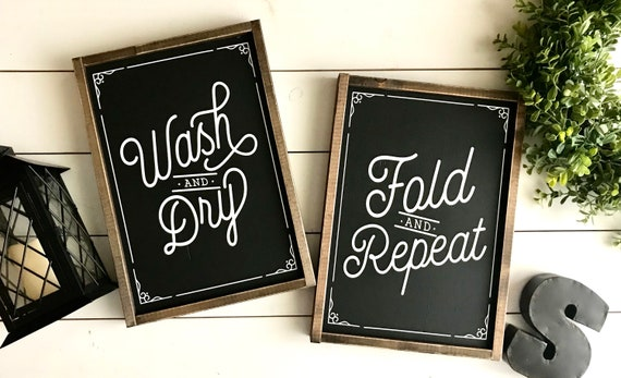 Farmhouse Sign | Laundry Room Sign DUO | Sign SET | Wash And Dry | Fold And Repeat | Laundry Room Sign | Sign Duo | Fixer Upper | Laundry