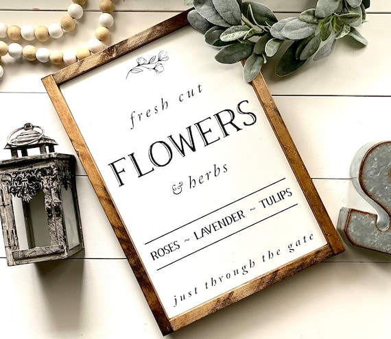 Farmhouse Sign | Fresh Cut Flowers | Flower Sign | Fresh Herb Sign | Fresh Cut Flowers Sign | Spring Sign | Spring Decor | Fixer Upper