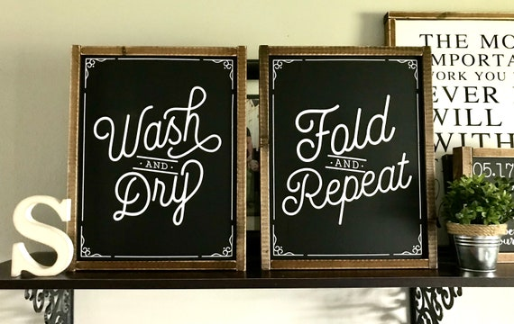 Farmhouse Sign   Laundry Room Sign DUO   Sign SET   Wash And Dry   Fold And Repeat   Laundry Room Sign   Sign Duo   Fixer Upper   Laundry