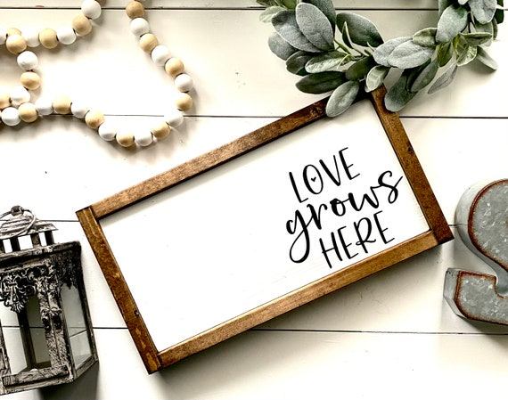 Farmhouse Sign | Love Grows Here | Spring Sign | Spring Decor | Love Sign | Love Grows Here Sign | Fixer Upper | Modern Farmhouse