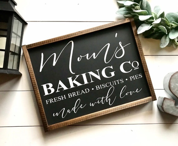 Farmhouse Sign | Mom's Baking Company | Farmhouse Kitchen Sign | Baking Sign | Made With Love Sign | Fixer Upper | Modern Farmhouse