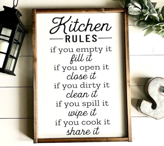 Farmhouse Sign | Kitchen Rules | Kitchen Sign | Farmhouse Kitchen | Kitchen Decor | Fixer Upper | Modern Farmhouse | Kitchen Rules Sign