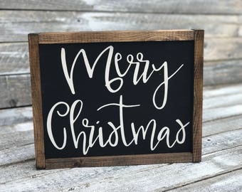 Framed Merry Christmas Sign | Rustic Merry Christmas Sign | Farmhouse Christmas | Elegant Merry Christmas Sign | Merry Christmas Sign