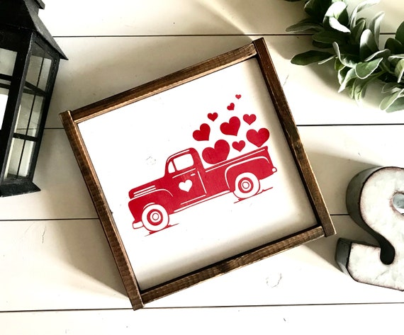 Farmhouse Sign | Valentine's Sign | Valentine's Truck | Truck With Hearts | Valentine's Decor | Fixer Upper | Modern Farmhouse | Valentine's
