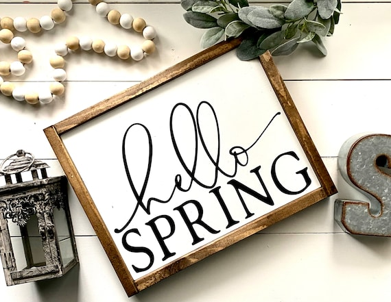 Farmhouse Sign | Hello Spring | Spring Signs | Easter Signs | Hello Spring Sign | Popular Spring Signs | Spring Decor | Fixer Upper