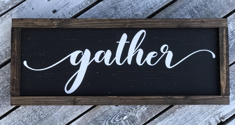 Farmhouse Sign | Gather Word Sign | Framed Wood Sign ...