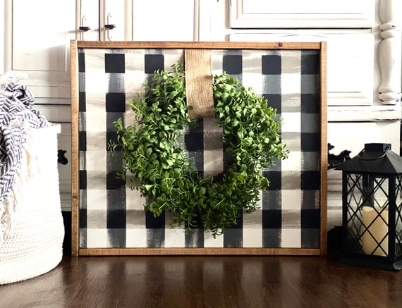 Farmhouse Sign | Buffalo Plaid Sign | Boxwood Wreath | Hand Painted Buffalo Plaid | Black and White Plaid | Fixer Upper | Modern Farmhouse