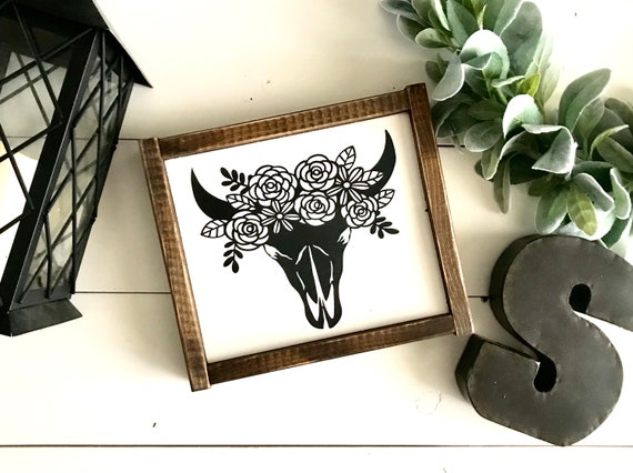 Farmhouse Sign | Floral Cow Skull | Rustic Signs | Nursery Decor | Girl's Bedroom Decor | Fixer Upper | Modern Farmhouse | Western Decor