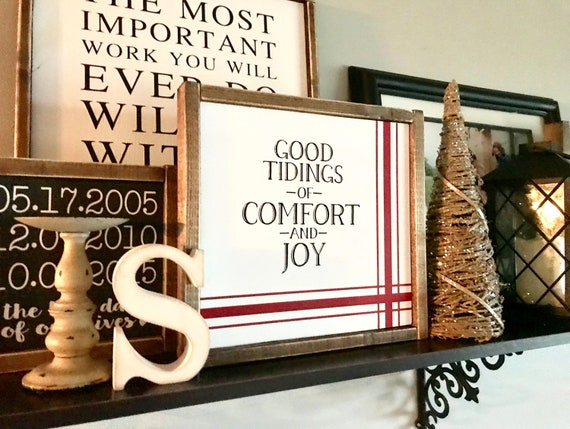 Christmas Sign | Farmhouse Sign | Good Tidings Of Comfort And Joy | Classic Christmas Sign | Farmhouse Christmas | Fixer Upper | Christmas