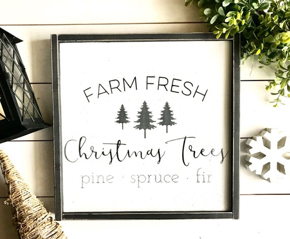 Christmas Sign | Farm Fresh Christmas Trees | Farmhouse Sign | Christmas Decor | Farmhouse Christmas | Christmas Tree Sign | Fixer Upper