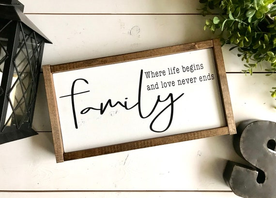 Family Framed Word Sign   Family Sign   Family, Where Life Begins and Love Never Ends   Farmhouse Inspired Sign   Family