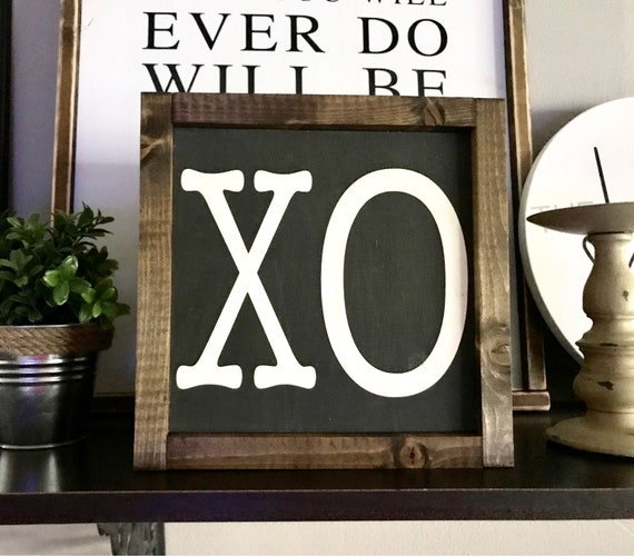 Farmhouse Sign | XO Sign | XO Framed Word Sign | Valentine's Day Sign | Hugs and Kisses Sign | XOXO | Valentine's Day | Love Sign