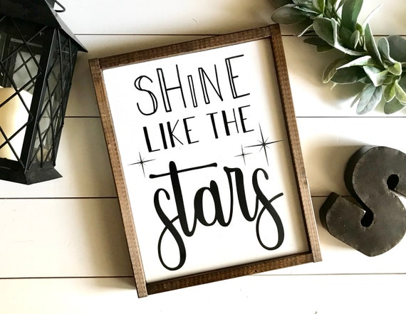 Farmhouse Sign | Shine Like The Stars | Little Girl's Sign | Girl's Bedroom Sign | Kid's Bedroom Sign | Boy's Bedroom Sign | Fixer Upper